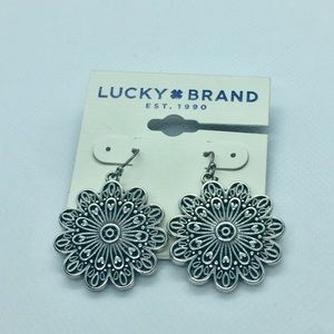 Lucky Brand Silver Hanging Flower Earrings